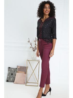 Pantalon taille haute ajuste uni prune femme