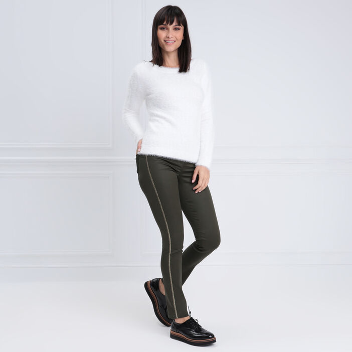 Pantalon ajusté enduit vert kaki femme