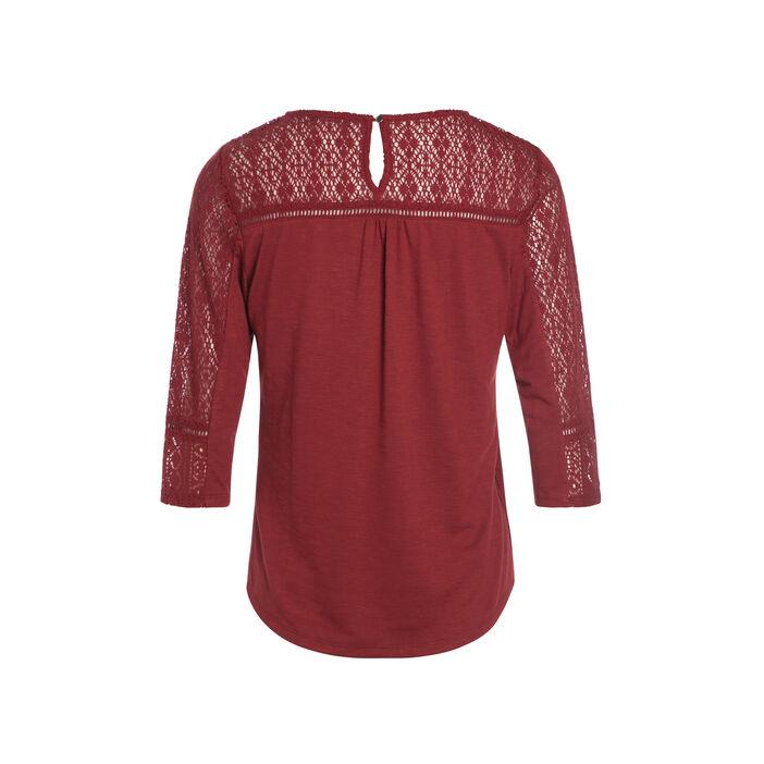 T-shirt manches 3/4 dentelle rouge foncé femme