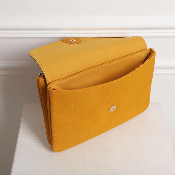 Sac pochette rabat grainé jaune or femme