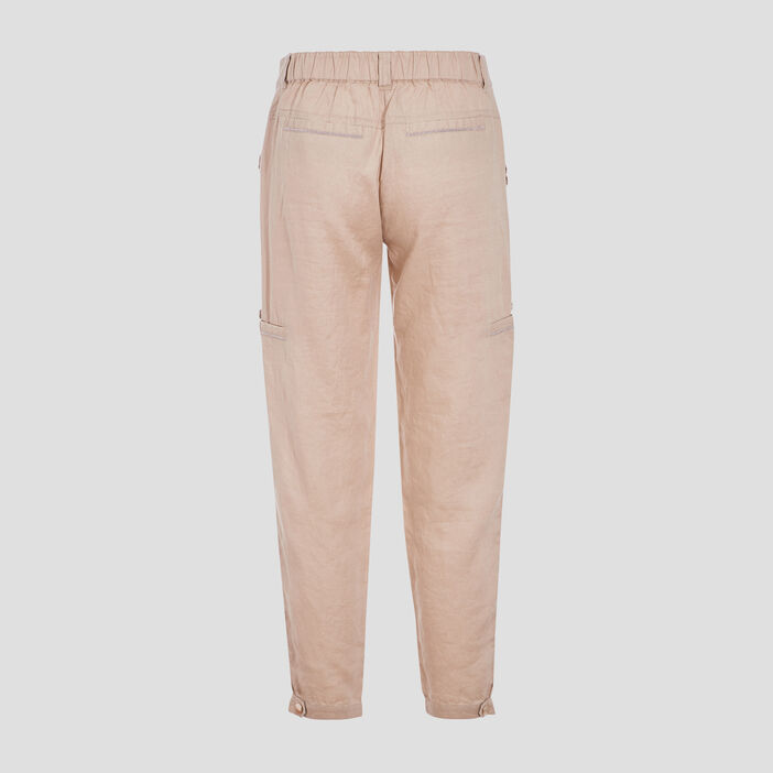 Pantalon flou taille basculée beige femme