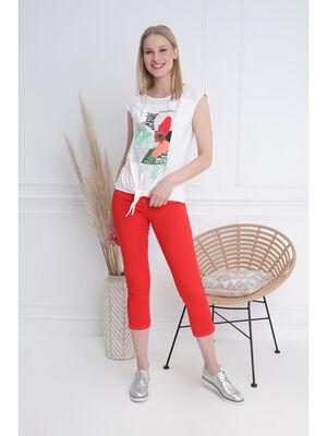 Pantacourt ajuste taille haute rouge femme