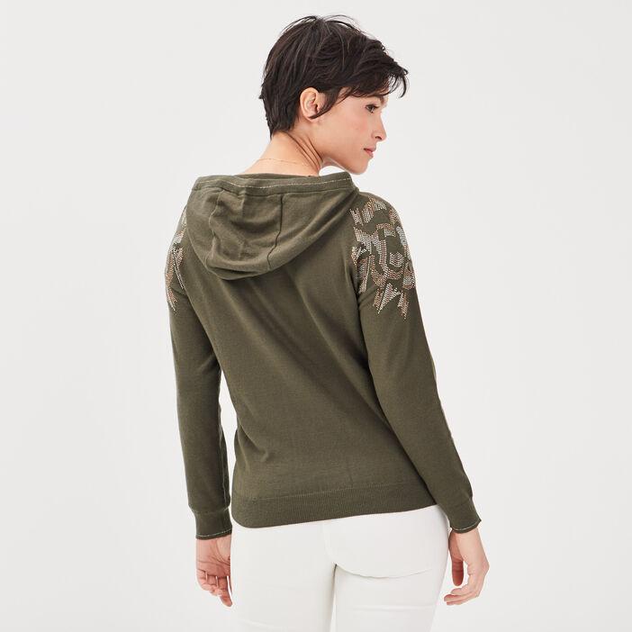 Pull manches longues à capuche vert kaki femme
