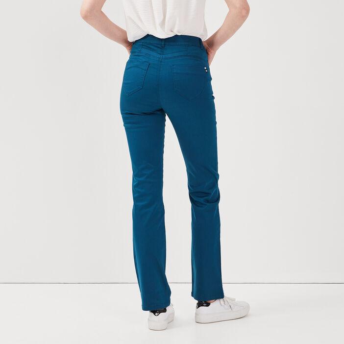 Pantalon droit taille haute bleu pétrole femme
