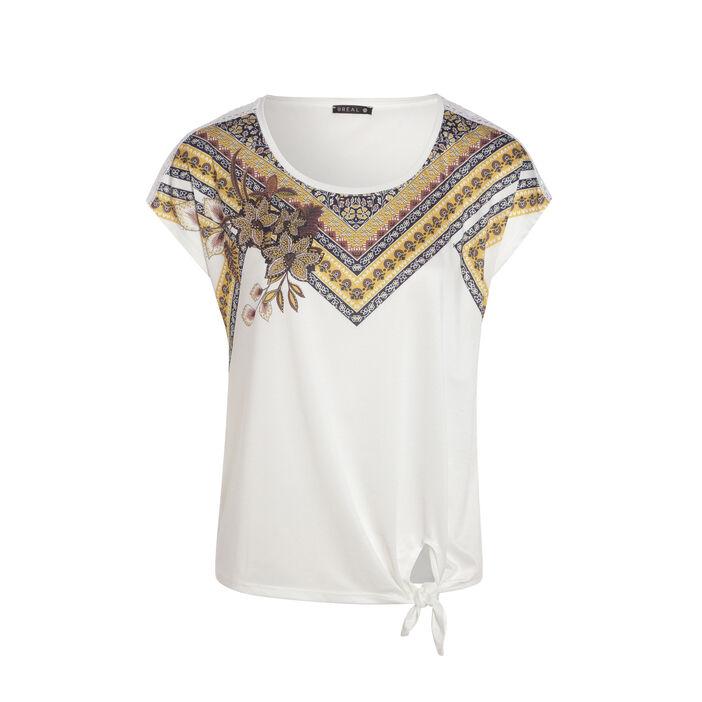 T-shirt manches courtes à nœud ecru femme