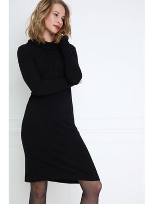 Robe pull droite col roule noir femme