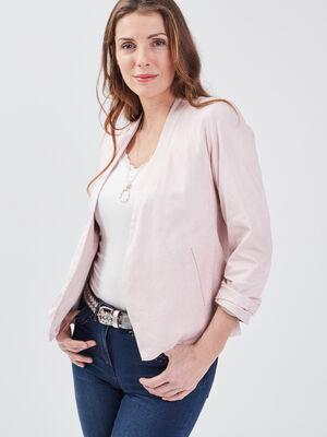Veste droite col chale rose femme