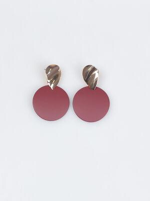 Boucles doreilles rondes rouge fonce femme