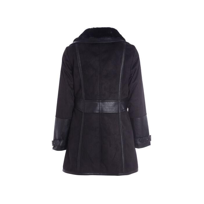 Manteau cintré col à revers noir femme