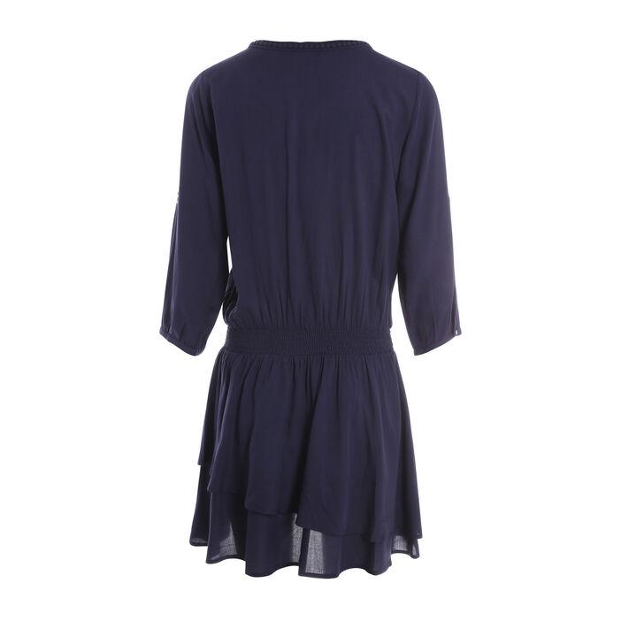 Robe courte blousante col rond bleu femme
