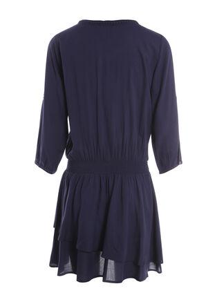 Robe courte blousante col rond bleu fonce femme
