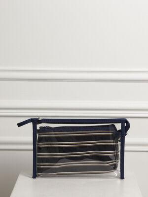 Pochette transparente rayures bleu femme