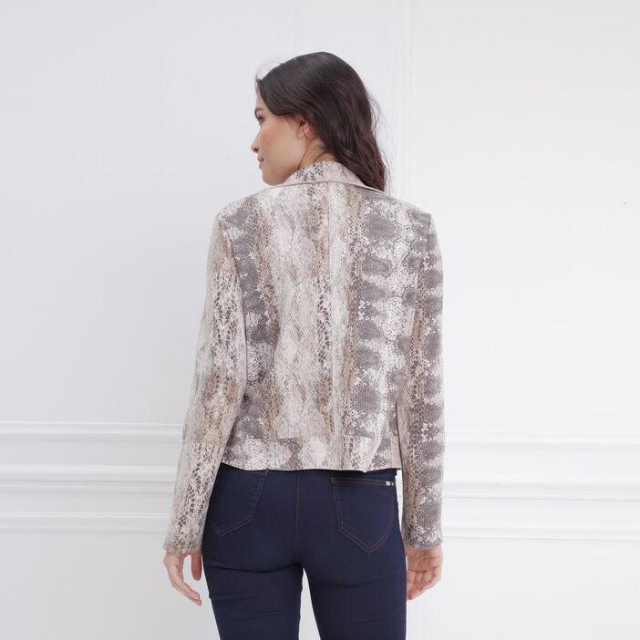 Veste courte imprimé python blanc femme