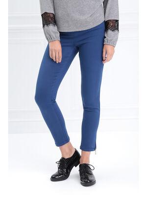 Pantalon ajuste taille haute bleu roi femme