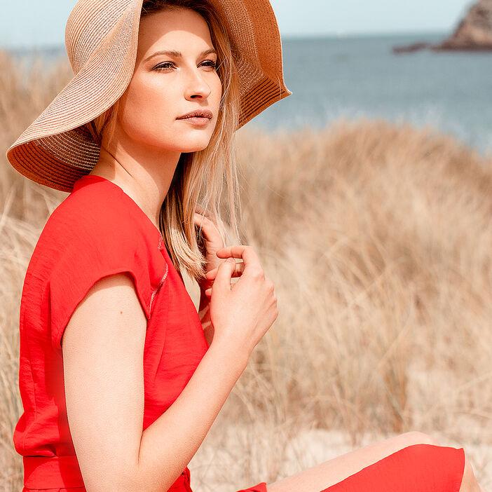 Robe cintrée col V rouge femme