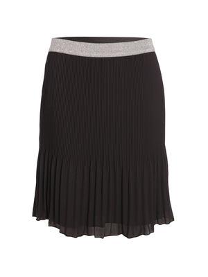 Jupe droite plissee noir femme