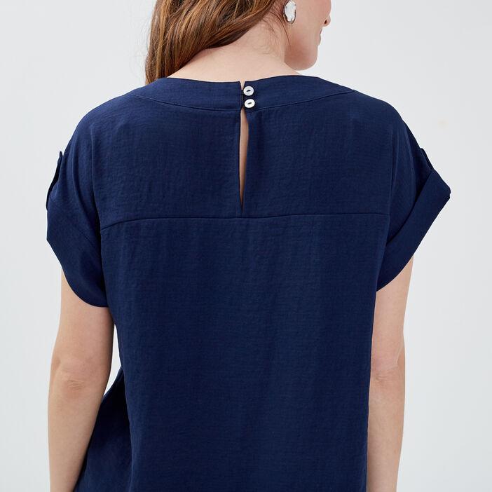Blouse manches courtes bleu marine femme