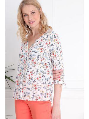 Chemise col boutons nouee bas de manches blanc femme