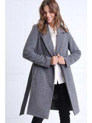 Manteau droit ceinture gris clair femme