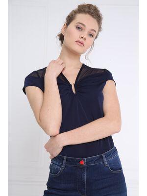 T shirt body resille epaules bleu fonce femme