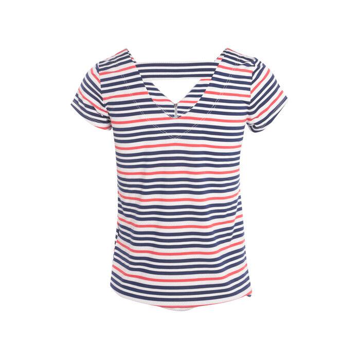 T-shirt avec zip bleu femme