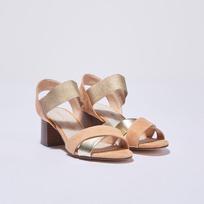 Sandales à talons élastiquées camel femme