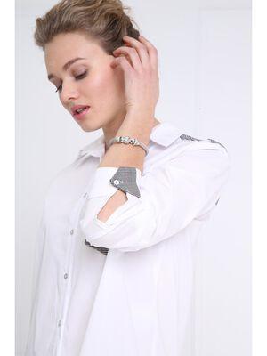 Bracelet metal perles a strass couleur argent femme