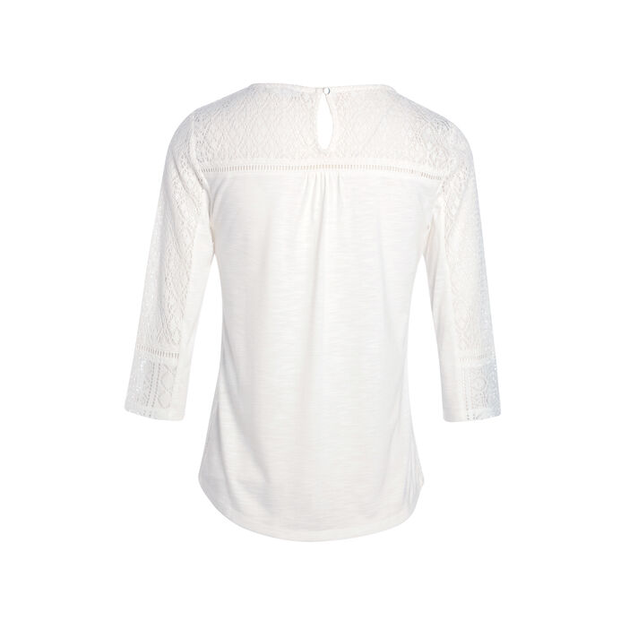 T-shirt manches 3/4 dentelle creme femme