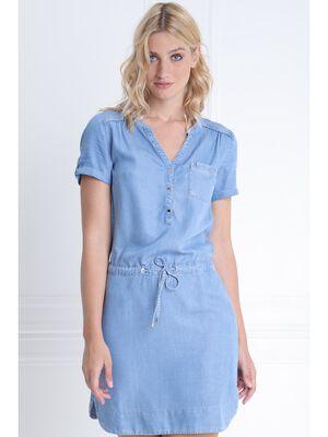 Robe courte ajustee en jean denim double stone femme