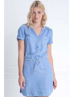 801d86d15d3 Robe lyocell coulisse taille denim double stone femme