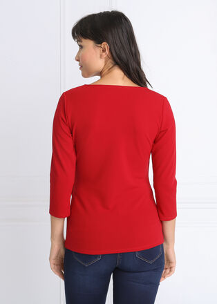 T shirt manches 34 col croise rouge femme
