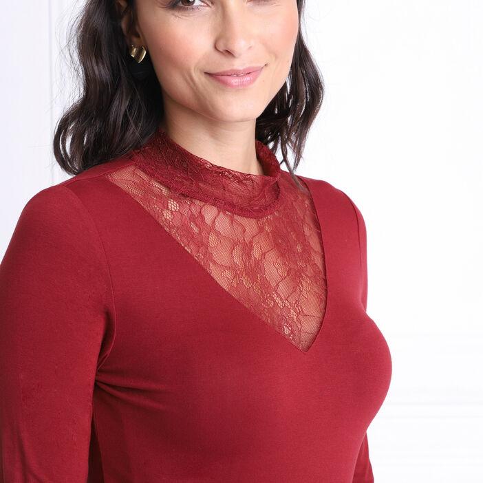 T-shirt manches longues rouge foncé femme
