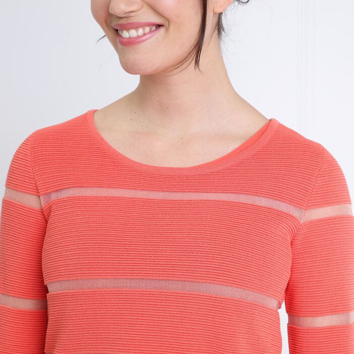 Pull à rayures col rond orange corail femme