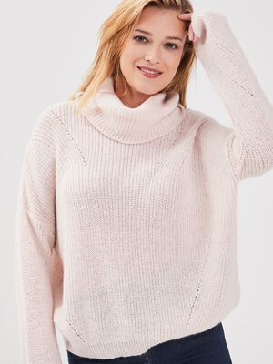Pull manches longues rose poudree femme