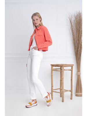 Veste droite courte brodee orange corail femme