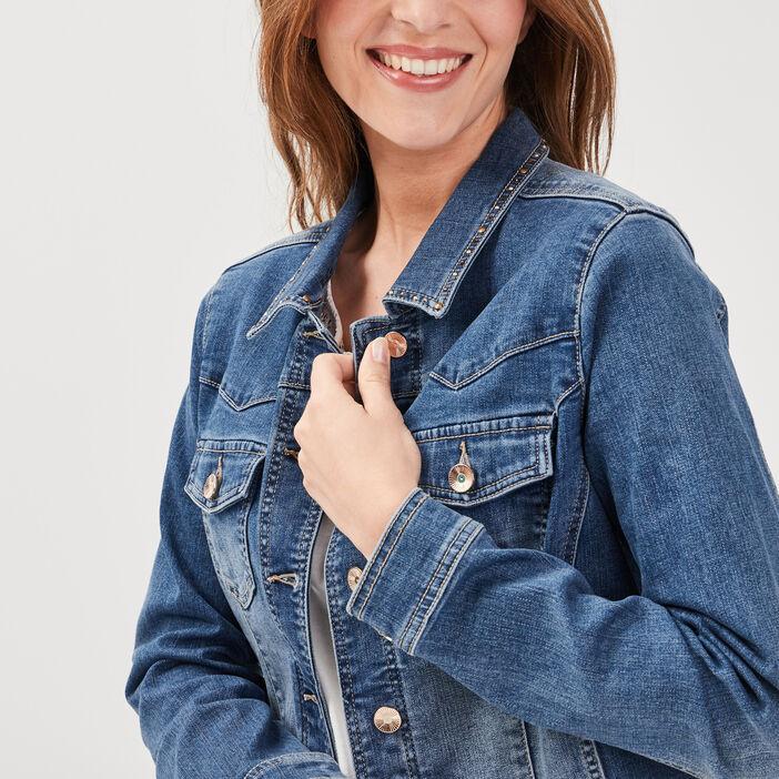 Veste droite boutonnée en jean denim double stone femme