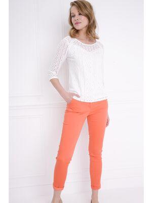 Pantalon taille basculee orange corail femme