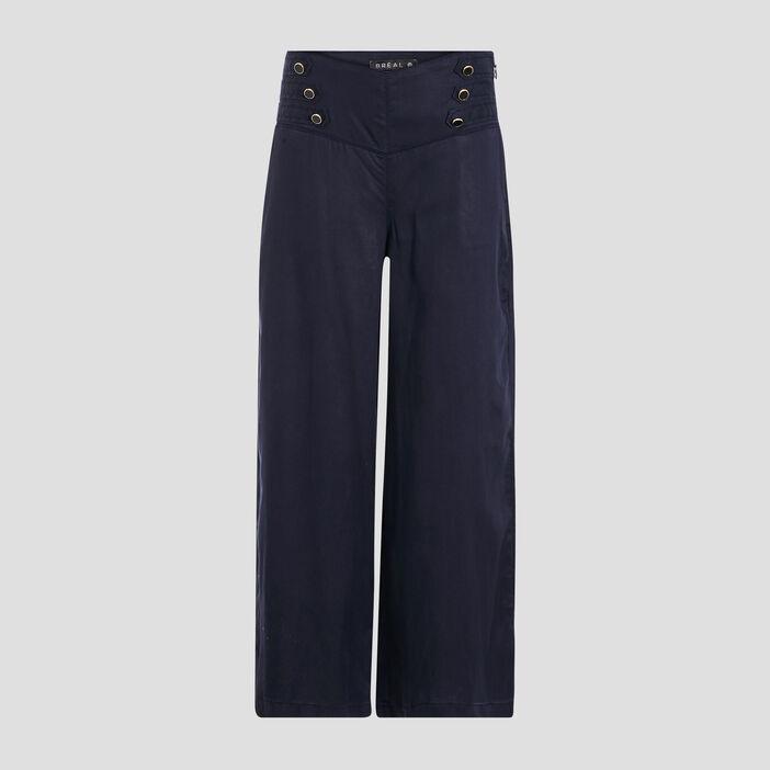 Pantalon large taille haute bleu foncé femme