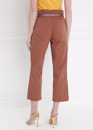 Pantalon noue taille haute marron clair femme