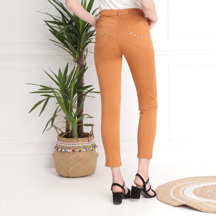 Pantalon taille basculée camel femme