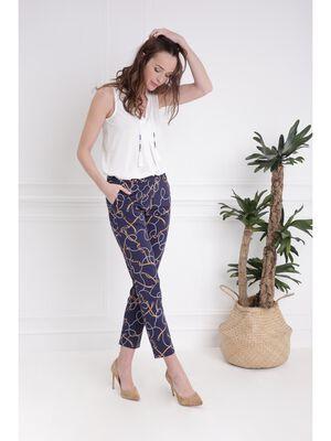 Pantalon 78e taille standard bleu marine femme