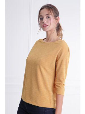 T shirt col rond maille metallisee jaune moutarde femme