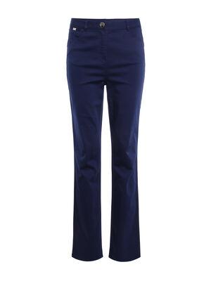 Pantalon droit taille haute bleu fonce femme