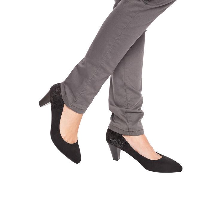 Escarpins contrefort pailleté noir femme