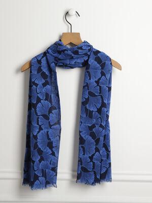Foulard imprime fleurs bleu femme