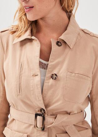 Veste droite ceinturee sable femme