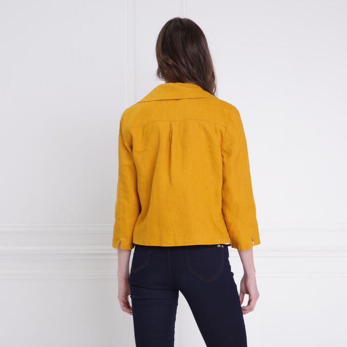 Veste fluide courte à pans jaune or femme