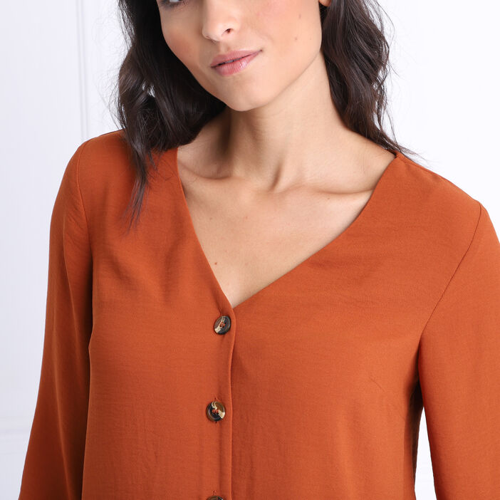 Chemise manches 3/4 col en V marron femme