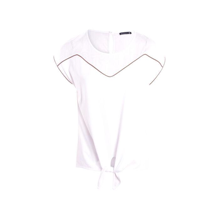 T-shirt manches courtes avec détail blanc femme