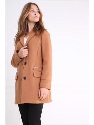 Manteau mi long droit boutonnee camel femme